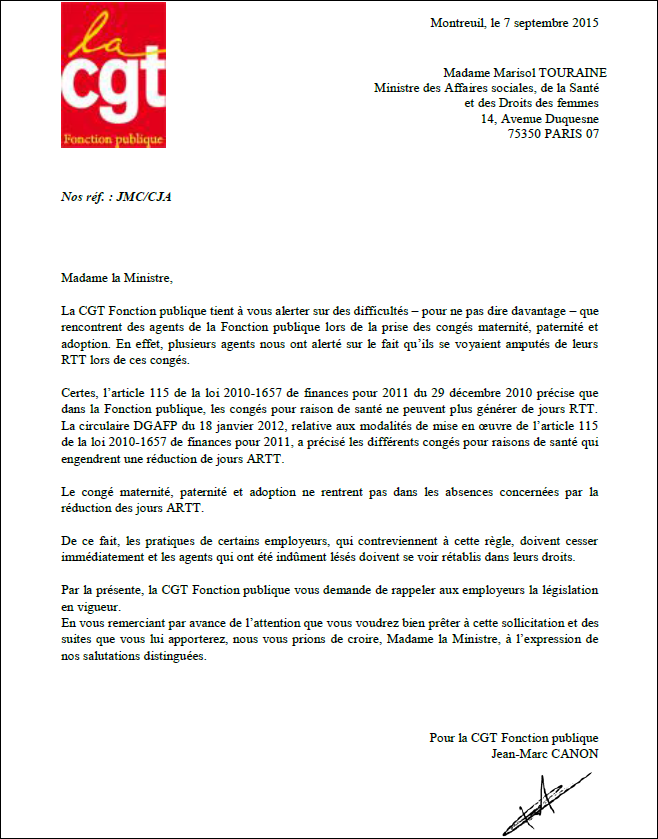Courrier ministre touraine